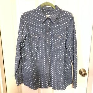 Foxcroft polka-dot button up blouse.  Size 14